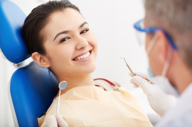 woman sitting in the dental chair